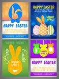 愉快的复活节飞行物模板设置了与兔子,大耳兔宝宝剪影  免版税图库摄影