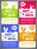 愉快的复活节飞行物模板设置了与在草甸的大耳兔子剪影 免版税库存照片