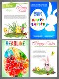 愉快的复活节飞行物模板设置了新出生chiken和兔子、蓝色兔子鸡蛋在波浪,剪影和鸡蛋 库存照片