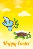 愉快的复活节鸟和巢卡片 免版税库存照片