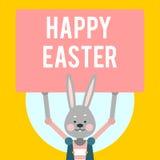愉快的复活节 与标志的动画片兔子在黄色背景 库存例证