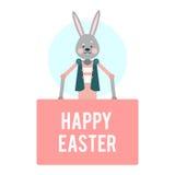 愉快的复活节 与桃红色标签的动画片兔子 模板 库存例证