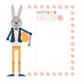 愉快的复活节 动画片兔子用鸡蛋 模板卡片 向量例证