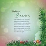 愉快的复活节贺卡、五颜六色的bokeh背景用兔子和鸡蛋在草 免版税库存图片