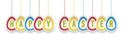 愉快的复活节贺卡用垂悬的纸鸡蛋 免版税图库摄影
