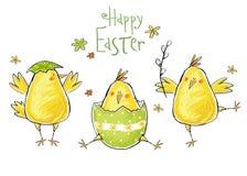 愉快的复活节贺卡 与文本的逗人喜爱的鸡在时髦的颜色 概念假日春天动画片贺卡 免版税库存图片