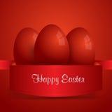 愉快的复活节 在红色丝带包裹的红色复活节彩蛋 红色backgro 免版税库存照片