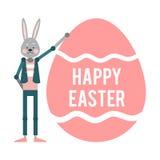 愉快的复活节 拿着一个大桃红色鸡蛋的动画片兔子 模板 库存例证