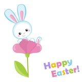 愉快的复活节 逗人喜爱的复活节兔子坐花 免版税库存图片