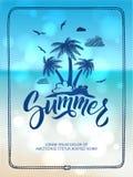 愉快的夏时海报  与手拉的信件和词的明信片装饰 也corel凹道例证向量 免版税库存照片