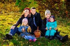 愉快的大家庭在秋天公园 野餐 免版税库存照片