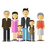 愉快的大家庭画象一起照顾并且生,祖父祖母,儿子女儿 图库摄影