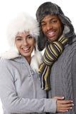 愉快的夫妇冬天纵向  免版税库存照片