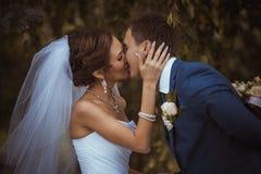 愉快的夫妇在婚礼之日。新娘和新郎。 库存照片