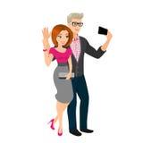 愉快的夫妇是出去和采取快照他们自己 免版税图库摄影