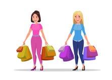 愉快的女售货员或妇女有袋子的 大销售额 皇族释放例证