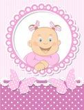 愉快的女婴剪贴薄粉红色框架 免版税图库摄影