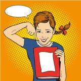 愉快的女孩举行一本书在她的手上 导航在可笑的减速火箭的流行艺术样式的例证 回到学校概念模板 图库摄影