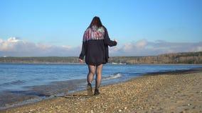 愉快的女孩在与长的颜色头发的海滩上快乐地花费时间 影视素材