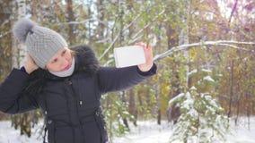 愉快的女孩在冬天公园做一selfie 股票视频