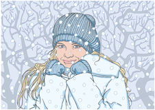 愉快的女孩在冬天 库存照片