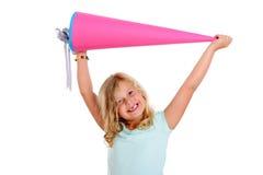 愉快的女孩在学校欢呼的第一天 免版税库存照片