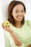 愉快的女孩用苹果 库存照片
