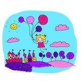 愉快的女孩的传染媒介例证有气球的 库存图片