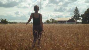 愉快的女孩走金黄领域到乡间别墅 股票录像