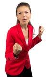 愉快的女实业家纵向 免版税库存图片