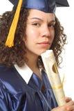 愉快的女性毕业 免版税图库摄影