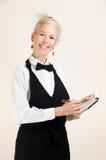 愉快的女服务员 图库摄影