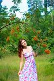 年轻愉快的妇女和欧洲花楸 免版税库存照片