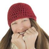 愉快的妇女在冬天 免版税库存照片