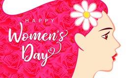 愉快的妇女天妇女3月8日,有桃红色头发贺卡的美丽的 免版税图库摄影