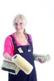 愉快的妇女油漆工 免版税图库摄影