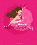 愉快的妇女的与春天花的天背景 3月8日 图库摄影