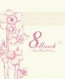 愉快的妇女的与春天花的天背景 3月8日 库存照片