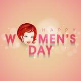 愉快的妇女的天庆祝的女孩面孔 免版税库存图片