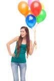 愉快的妇女藏品气球 免版税库存照片