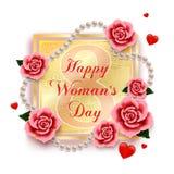 愉快的妇女` s天3月8日与玫瑰、心脏和珍珠的 库存照片
