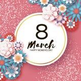 愉快的妇女` s天 3月8日 r 纸被切开的花卉贺卡 Origami在圈子附近开花飞行 免版税库存照片
