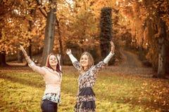 愉快的姐妹在公园 免版税库存照片