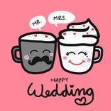 愉快的婚姻的逗人喜爱的夫妇咖啡杯动画片例证 免版税库存图片