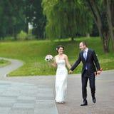 愉快的婚礼夫妇一起走和获得乐趣在公园 免版税库存照片
