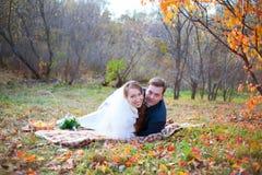 愉快的婚礼夫妇在秋天冬天森林里,说谎在格子花呢披肩拥抱 免版税库存照片