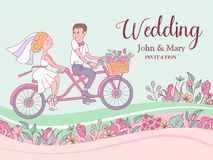 愉快的婚礼 也corel凹道例证向量 新娘和新郎乘坐a 免版税图库摄影