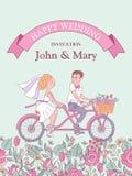 愉快的婚礼 也corel凹道例证向量 新娘和新郎乘坐a 图库摄影