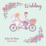 愉快的婚礼 也corel凹道例证向量 新娘和新郎乘坐a 免版税库存照片