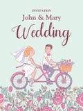 愉快的婚礼 也corel凹道例证向量 新娘和新郎乘坐a 库存图片